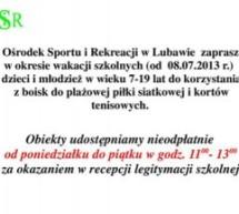 Lubawski OSiR zaprasza w wakacje