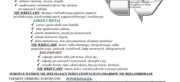 """Harmonogram odbioru posegregowanych odpadów – Lubawa """"Centrum"""""""