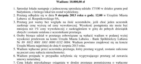 Przetarg na sprzedaż nieruchomości przy ul. Zamkowej