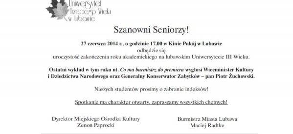 Uroczystość zakończenia roku akademickiego na lubawskim Uniwerystecie III Wieku
