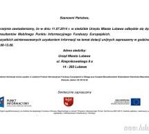 Dyżur Mobilnego Punktu Informacyjnego Funduszy Europejskich