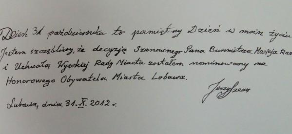 Honorowy Obywatel Lubawy – dr Jerzy Szews – nie żyje