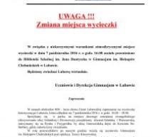UWAGA – zmiana miejsca wycieczki