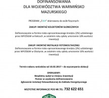 Dofinansowania dla województwa warmińsko – mazurskiego