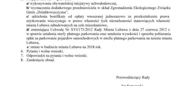 II zwyczajna sesja Rady Miasta Lubawa