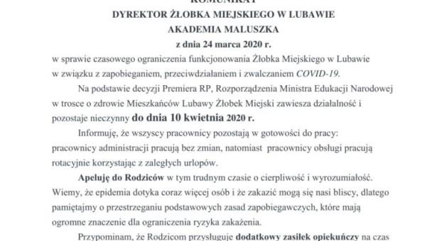 Komunikat dyrektora Żłobka Miejskiego