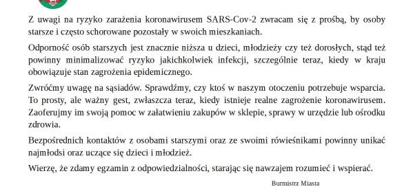 Komunikat Burmistrza Miasta Lubawa