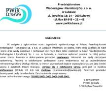 Ogłoszenie Przedsiębiorstwa Wodociągów i Kanalizacji