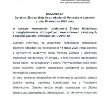 Komunikat Dyrektor Żłobka Miejskiego ws. wznowienia działalności placówki