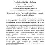 Komunikat Dyrektor Przedszkola Miejskiego ws. wznowienia działalności placówki