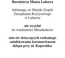 Komunikat Burmistrza Miasta