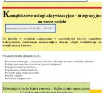Kompleksowe usługi aktywizacyjno – integracyjne rzecz rodzin – rekrutacja