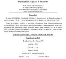 Komunikat- Przedszkole Miejskie w Lubawie