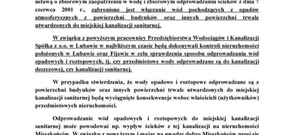 Przedsiębiorstwo Wodociągów i Kanalizacji – komunikat