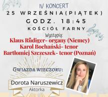 Zapraszamy na IV koncert organizowany  w ramach VI Międzynarodowego Festiwalu Muzycznego