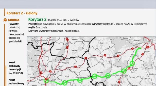 Lubawa opowiada się za przebiegiem drogi ekspresowej S5 w Wariancie II (zielonym)
