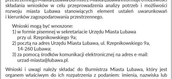 Burmistrz Miasta Lubawa – informacja