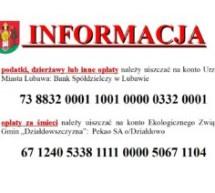 Informacja – opłaty i podatki