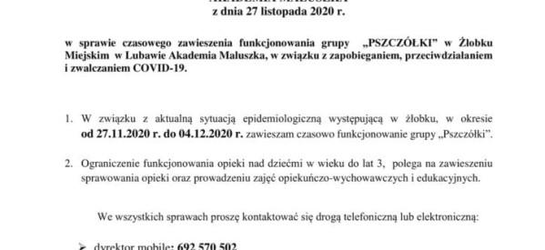 Dyrektor Żłobka Miejskiego informuje