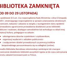 Biblioteka Miejska w Lubawie od 09 do 29 listopada pozostaje zamknięta