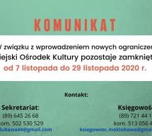 Komunikat Dyrektora MOK w Lubawie