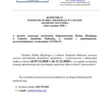 Komunikat Dyrektora Żłobka Miejskiego w Lubawie
