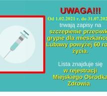 Zapisy na szczepienia przeciwko grypie dla osób 60 +