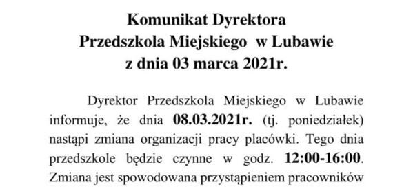 Komunikat Dyrektora Przedszkola Miejskiego