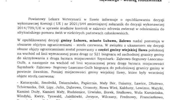 Informacja Powiatowego Lekarza Weterynarii – ASF