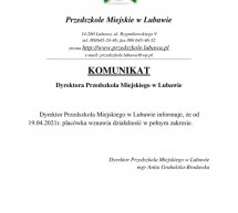 Komunikat Dyrektora Przedszkola Miejskiego w Lubawie