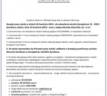 Komunikat Dyrektora Szkoły Podstawowej w Lubawie