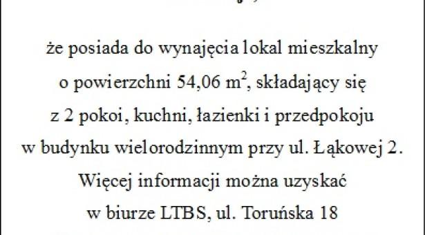 Ogłoszenie Lubawskiego Towarzystwa Budownictwa Społecznego