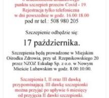 Burmistrz Miasta Lubawa informuje o uruchomieniu dodatkowego punktu szczepień