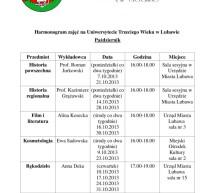 Harmonogram zajęć na Uniwersytecie Trzeciego Wieku w Lubawie na miesiąc październik