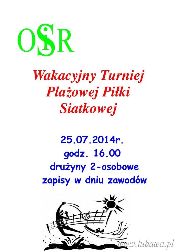 Turniej  plażówka 25.07.14