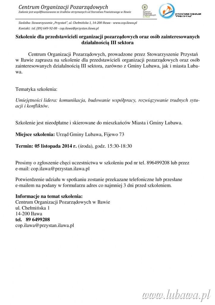 Zaproszenie na szkolenie dla NGO