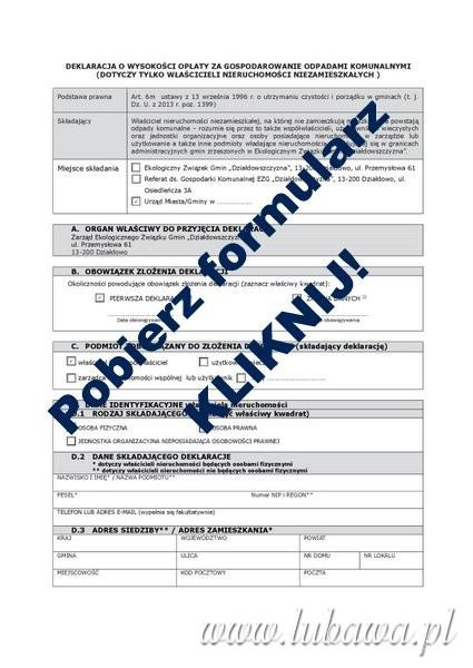 Deklaracja - formularz nieruchomości niezamieszkałe-001