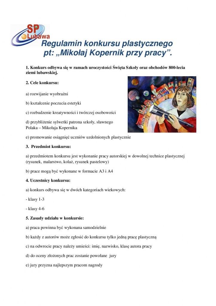 Regulamin konkursu  plastycznego Mikołaj Kopernik 21