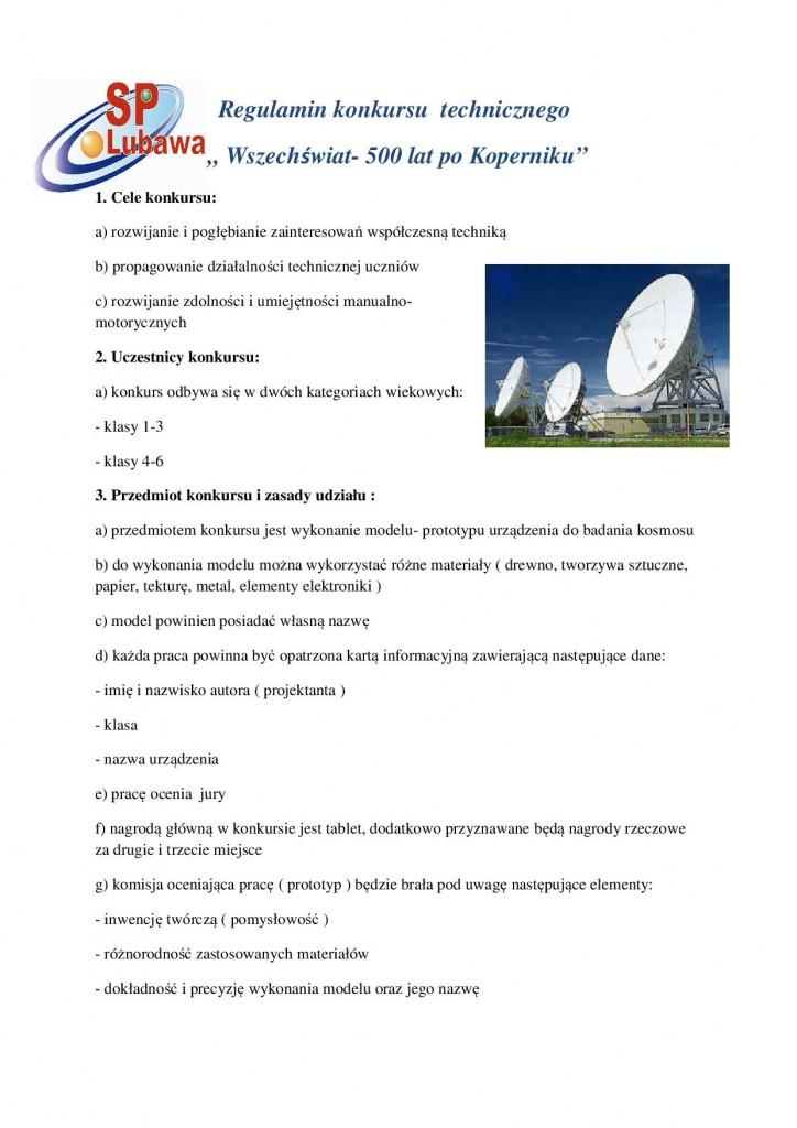 Regulamin konkursu  technicznego Mikołaj Kopernik 21
