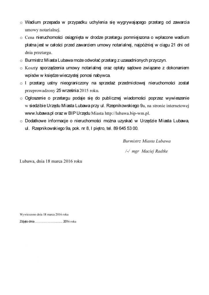 BURMISTRZ MIASTA LUBAWA OGŁASZA - przetarg 2 - Składowa2