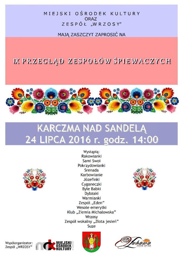 IX Przegląd Zespołów Śpiewaczych 2016 plakat